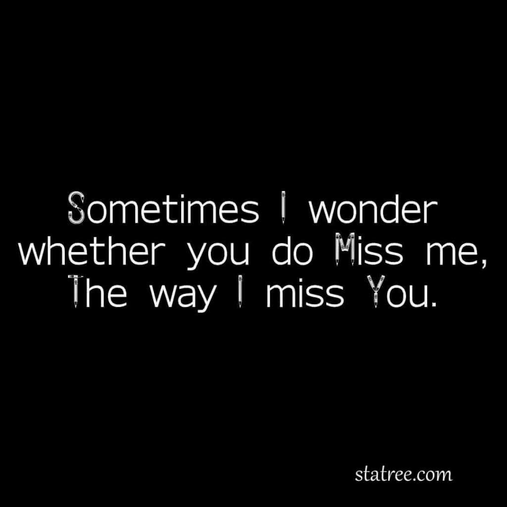 sometimes i wonder whether you do miss me, the way i miss you