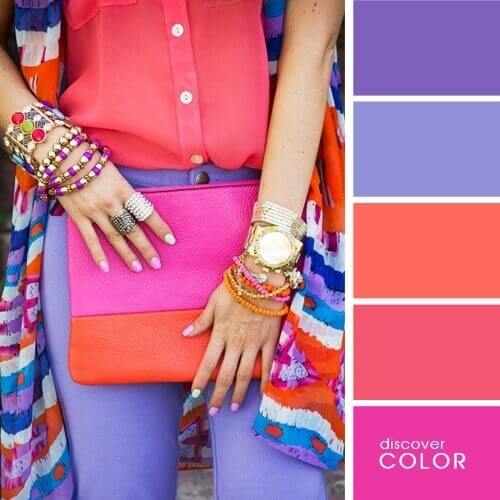 Coral red and shades of lilac